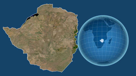 Zimbabwe. Globe with the shape of the country against zoomed map with its outline isolated on the blue background. satellite imagery