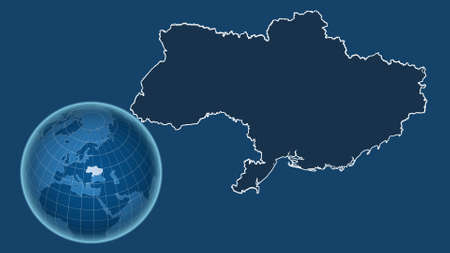 Ukraine. Globe with the shape of the country against zoomed map with its outline isolated on the blue background. shapes only - land/ocean mask