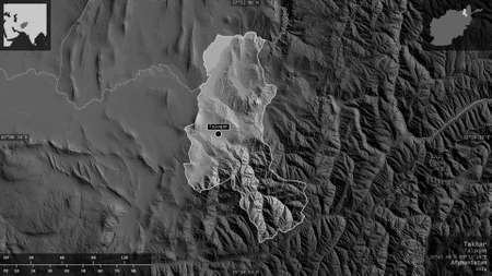 Takhar, province of Afghanistan. Grayscaled map with lakes and rivers. Shape presented against its country area with informative overlays. 3D rendering