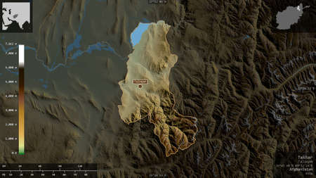 Takhar, province of Afghanistan. Colored shader data with lakes and rivers. Shape presented against its country area with informative overlays. 3D rendering Stock fotó
