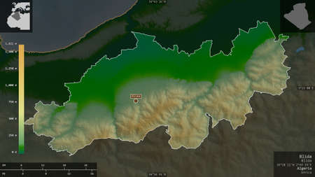 Blida, province of Algeria. Colored shader data with lakes and rivers. Shape presented against its country area with informative overlays. 3D rendering