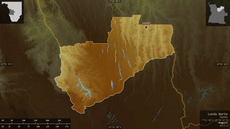 Lunda Norte, province of Angola. Colored relief with lakes and rivers. Shape presented against its country area with informative overlays. 3D rendering