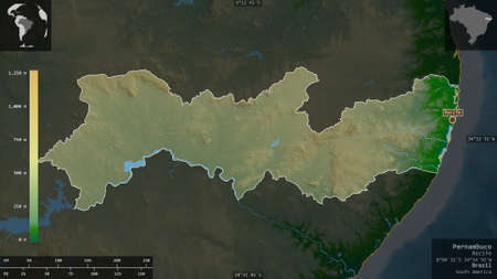Pernambuco, state of Brazil. Colored shader data with lakes and rivers. Shape presented against its country area with informative overlays. 3D rendering