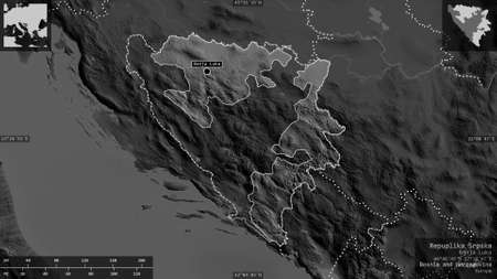 Repuplika Srpska, entity of Bosnia and Herzegovina. Grayscaled map with lakes and rivers. Shape presented against its country area with informative overlays. 3D rendering