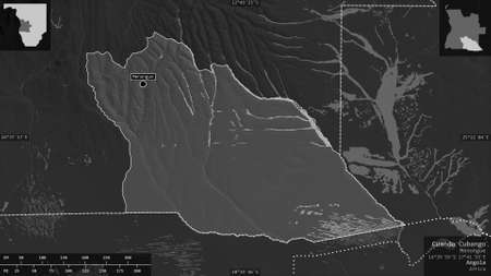 Cuando Cubango, province of Angola. Grayscaled map with lakes and rivers. Shape presented against its country area with informative overlays. 3D rendering