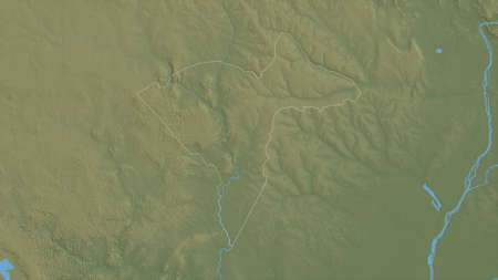 Sangha-Mbaéré, economic prefecture of Central African Republic. Colored shader data with lakes and rivers. Shape outlined against its country area. 3D rendering