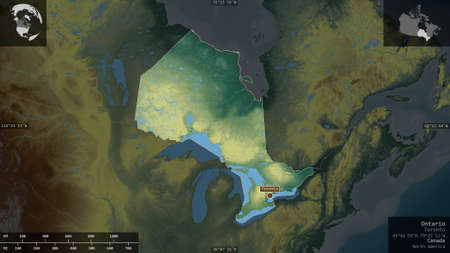 Ontario, province of Canada. Colored relief with lakes and rivers. Shape presented against its country area with informative overlays. 3D rendering