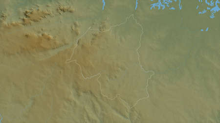 Ouham-Pendé, prefecture of Central African Republic. Colored shader data with lakes and rivers. Shape outlined against its country area. 3D rendering