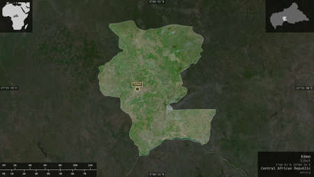 Kémo, prefecture of Central African Republic. Satellite imagery. Shape presented against its country area with informative overlays. 3D rendering