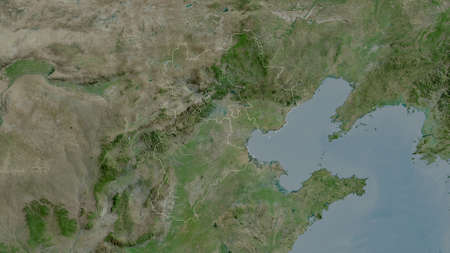 Hebei, province of China. Satellite imagery. Shape outlined against its country area. 3D rendering Imagens