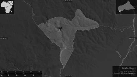 Sangha-Mbaéré, economic prefecture of Central African Republic. Grayscaled map with lakes and rivers. Shape presented against its country area with informative overlays. 3D rendering
