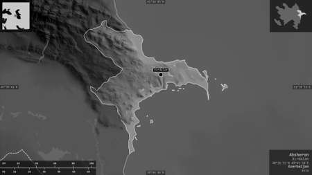Absheron, region of Azerbaijan. Grayscaled map with lakes and rivers. Shape presented against its country area with informative overlays. 3D rendering