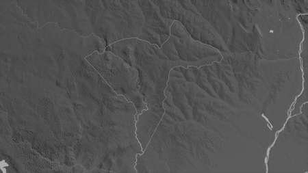 Sangha-Mbaéré, economic prefecture of Central African Republic. Grayscaled map with lakes and rivers. Shape outlined against its country area. 3D rendering