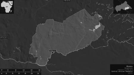 Mbomou, prefecture of Central African Republic. Grayscaled map with lakes and rivers. Shape presented against its country area with informative overlays. 3D rendering
