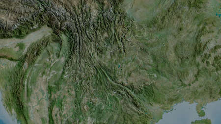 Yunnan, province of China. Satellite imagery. Shape outlined against its country area. 3D rendering Imagens