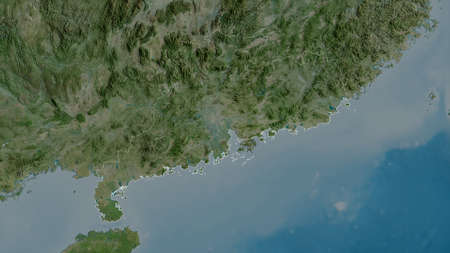 Guangdong, province of China. Satellite imagery. Shape outlined against its country area. 3D rendering