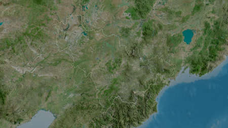 Jilin, province of China. Satellite imagery. Shape outlined against its country area. 3D rendering Imagens