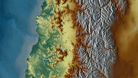 Región Metropolitana de Santiago, region of Chile. Colored relief with lakes and rivers. Shape outlined against its country area. 3D rendering