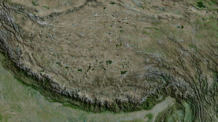 Xizang, autonomous region of China. Satellite imagery. Shape outlined against its country area. 3D rendering 版權商用圖片