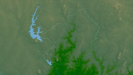 Lacs, district of Côte d'Ivoire. Colored shader data with lakes and rivers. Shape outlined against its country area. 3D rendering