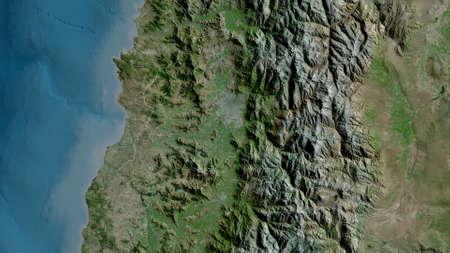 Región Metropolitana de Santiago, region of Chile. Satellite imagery. Shape outlined against its country area. 3D rendering Stock fotó