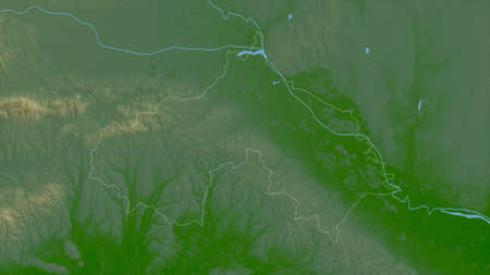 Koprivni�ko-Križeva�ka, county of Croatia. Colored shader data with lakes and rivers. Shape outlined against its country area. 3D rendering