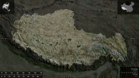 Xizang, autonomous region of China. Satellite imagery. Shape presented against its country area with informative overlays. 3D rendering