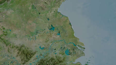 Jiangsu, province of China. Satellite imagery. Shape outlined against its country area. 3D rendering