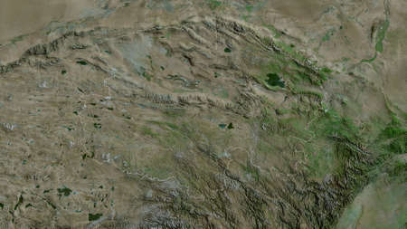 Qinghai, province of China. Satellite imagery. Shape outlined against its country area. 3D rendering