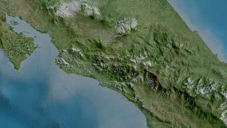 San José, province of Costa Rica. Satellite imagery. Shape outlined against its country area. 3D rendering