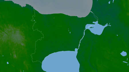 Ida-Viru, county of Estonia. Colored shader data with lakes and rivers. Shape outlined against its country area. 3D rendering