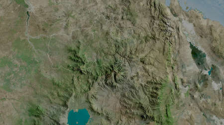 Tigray, state of Ethiopia. Satellite imagery. Shape outlined against its country area. 3D rendering