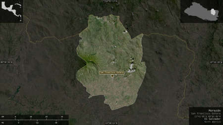 Morazán, department of El Salvador. Satellite imagery. Shape presented against its country area with informative overlays. 3D rendering Stock fotó
