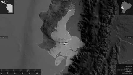 Guayas, province of Ecuador. Grayscaled map with lakes and rivers. Shape presented against its country area with informative overlays. 3D rendering
