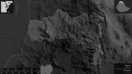 Tigray, state of Ethiopia. Grayscaled map with lakes and rivers. Shape presented against its country area with informative overlays. 3D rendering Standard-Bild