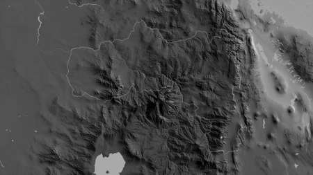 Tigray, state of Ethiopia. Grayscaled map with lakes and rivers. Shape outlined against its country area. 3D rendering