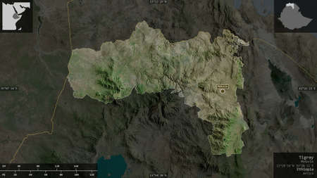 Tigray, state of Ethiopia. Satellite imagery. Shape presented against its country area with informative overlays. 3D rendering
