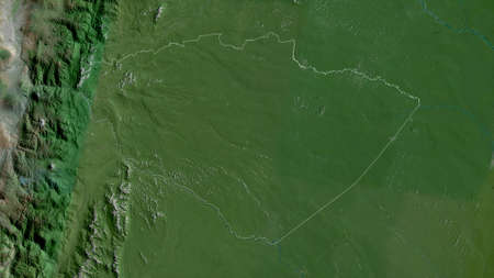 Pastaza, province of Ecuador. Satellite imagery. Shape outlined against its country area. 3D rendering Foto de archivo