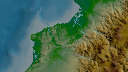 Esmeraldas, province of Ecuador. Colored shader data with lakes and rivers. Shape outlined against its country area. 3D rendering Imagens