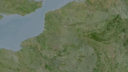 Hauts-de-France, region of France. Satellite imagery. Shape outlined against its country area. 3D rendering
