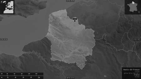 Hauts-de-France, region of France. Grayscaled map with lakes and rivers. Shape presented against its country area with informative overlays. 3D rendering Stock Photo