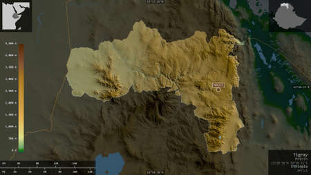 Tigray, state of Ethiopia. Colored shader data with lakes and rivers. Shape presented against its country area with informative overlays. 3D rendering Standard-Bild