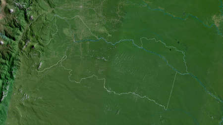 Orellana, province of Ecuador. Satellite imagery. Shape outlined against its country area. 3D rendering