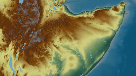 Somali, state of Ethiopia. Colored relief with lakes and rivers. Shape outlined against its country area. 3D rendering