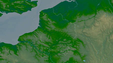 Hauts-de-France, region of France. Colored shader data with lakes and rivers. Shape outlined against its country area. 3D rendering Stock Photo