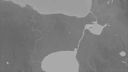 Ida-Viru, county of Estonia. Grayscaled map with lakes and rivers. Shape outlined against its country area. 3D rendering Imagens