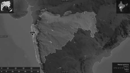 Maharashtra, state of India. Grayscaled map with lakes and rivers. Shape presented against its country area with informative overlays. 3D rendering