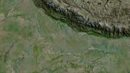 Uttar Pradesh, state of India. Satellite imagery. Shape outlined against its country area. 3D rendering