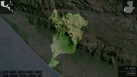 San Marcos, department of Guatemala. Satellite imagery. Shape presented against its country area with informative overlays. 3D rendering