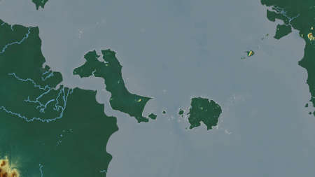 Bangka-Belitung, province of Indonesia. Colored relief with lakes and rivers. Shape outlined against its country area. 3D rendering